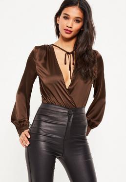 Brown Long Sleeve Tie Front Wrap Bodysuit