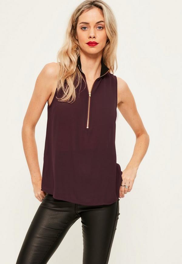 55e538287b01e Purple Ribbed Neck Zip Front Chiffon Cami Top