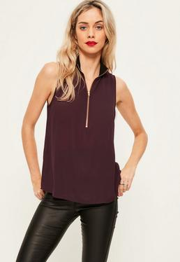 Purple Ribbed Neck Zip Front Chiffon Cami Top