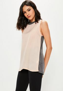 Jersey Back Chiffon Cami Top
