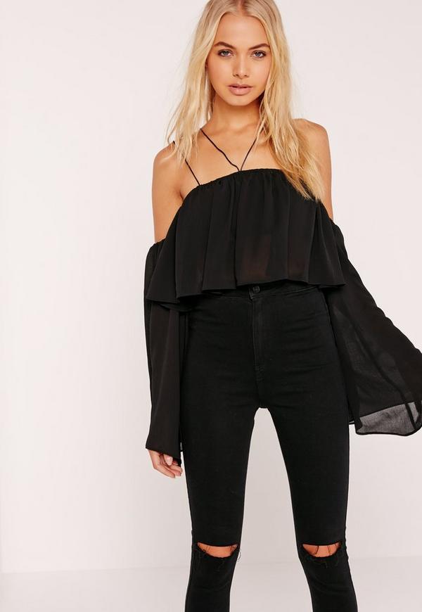 Chiffon Frill Flared Sleeve Crop Bardot Top  Black