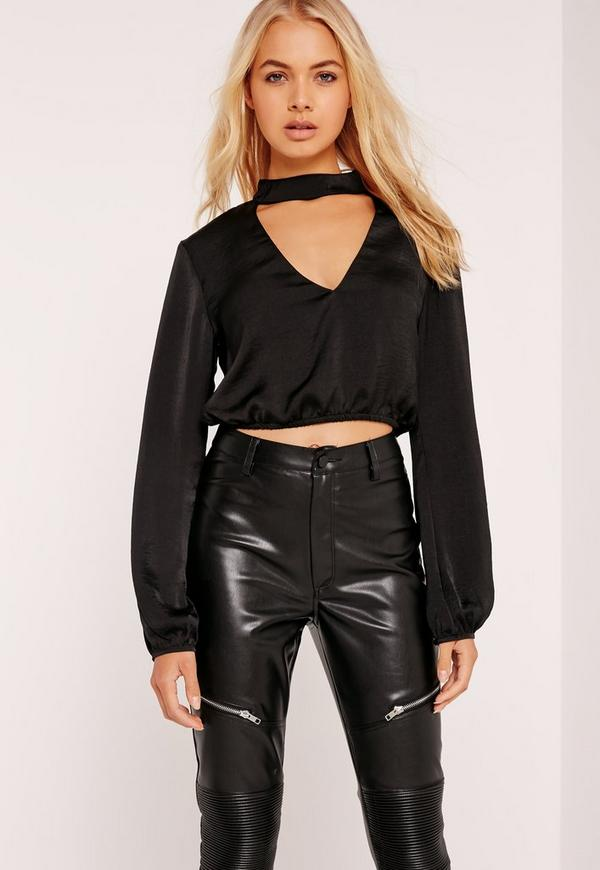 Hammered Satin Choker Neck Cropped Blouse Black