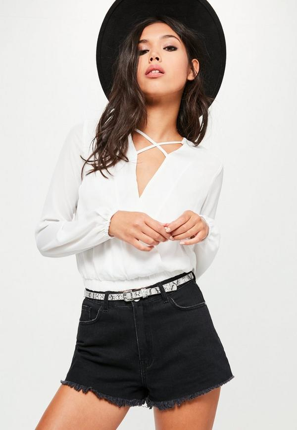White Crossfront Crop Blouse