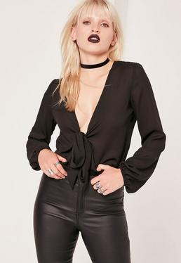 Black Tie front Blouson Sleeve Crop Blouse