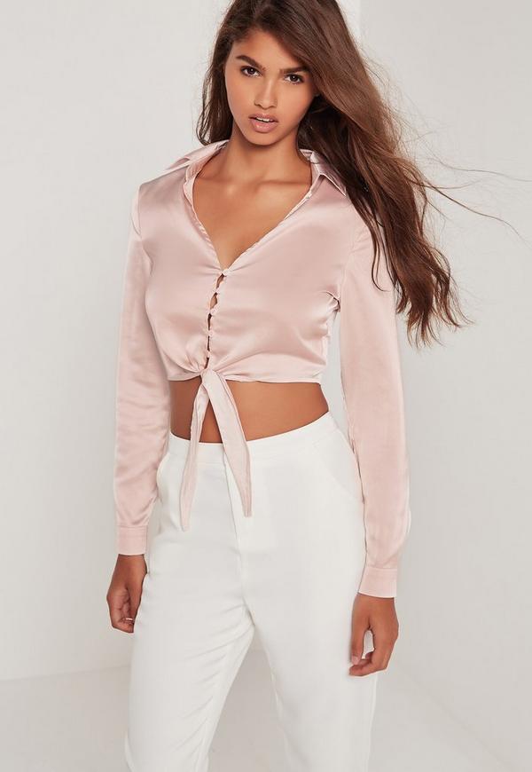 Button Front Satin Tie Crop Blouse Pink
