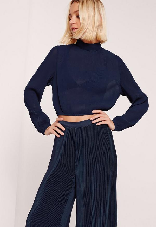 Pleated Turtle Neck Long Sleeve Crop Blouse Navy