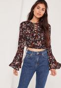 Floral Lace Up Flared Sleeve Crop Blouse Multi