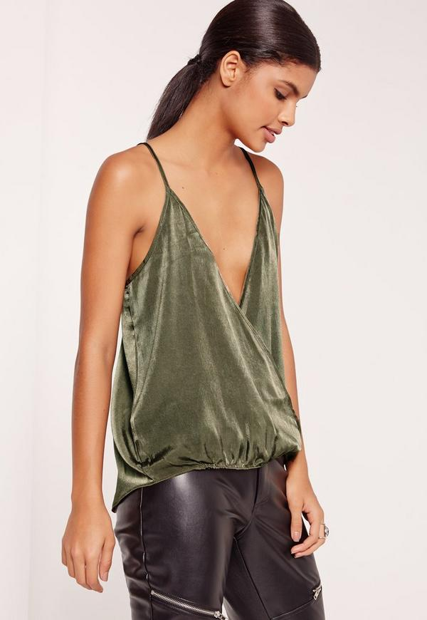 Satin Wrap Cami Top Khaki