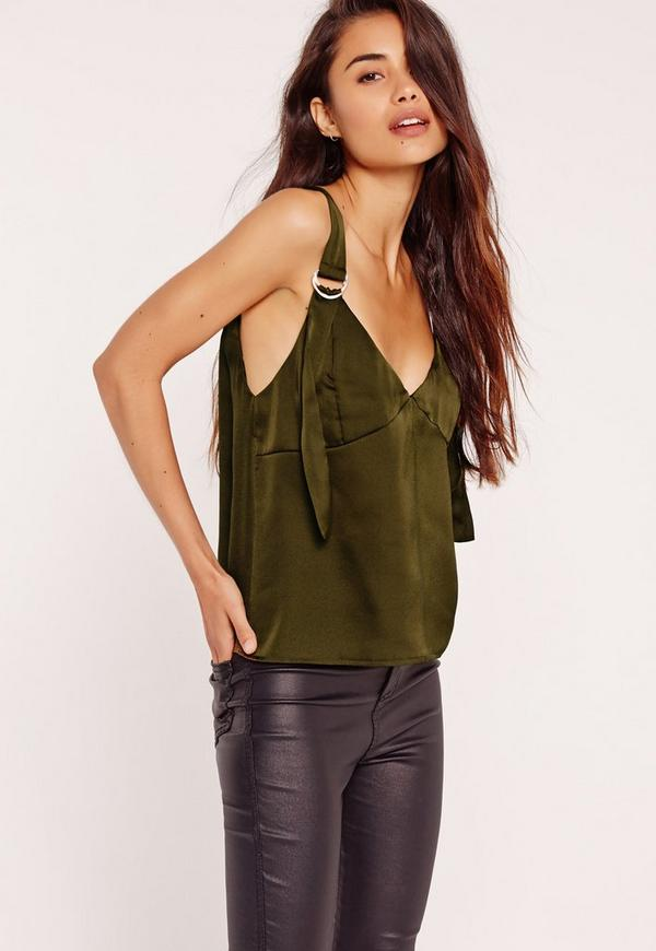 Satin D Ring Strap Cami Top Khaki