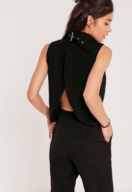 Buckle Neck Vest Black