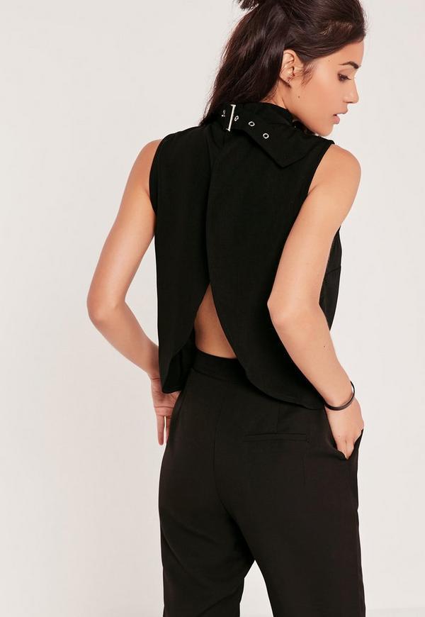 Buckle Neck Vest Top Black
