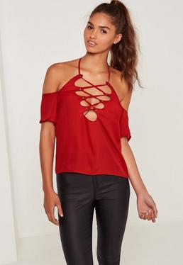 Lace Up Neck Bardot Blouse Red