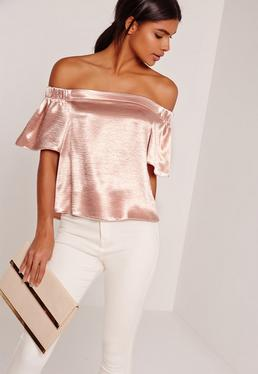 Crushed Satin Bardot Blouse Pink