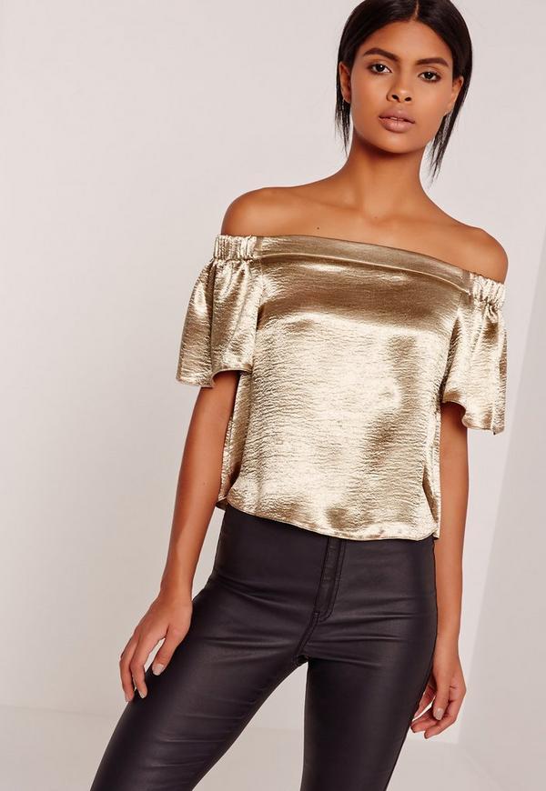 Crushed Satin Bardot Blouse Gold
