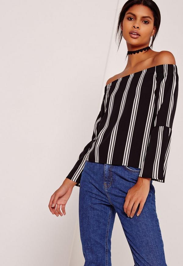Stripe Flared Sleeve Bardot Mono