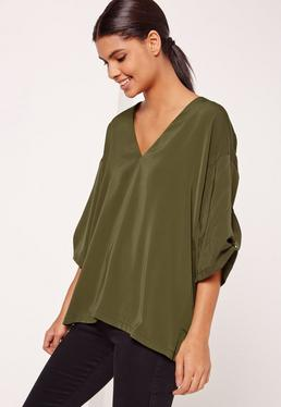 Oversized Short Sleeve Blouse Khaki