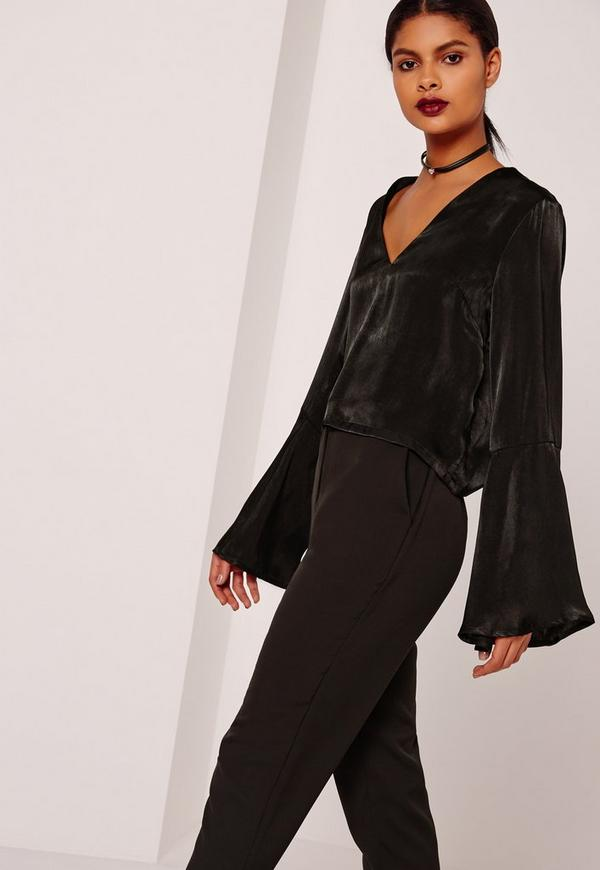 Satin Flared Sleeve Blouse Black