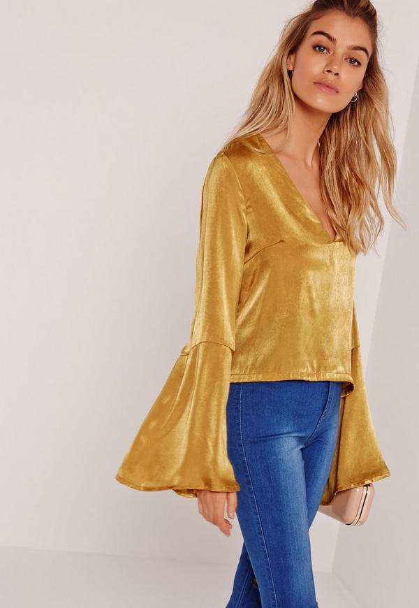Satin Flared Sleeve Blouse Yellow