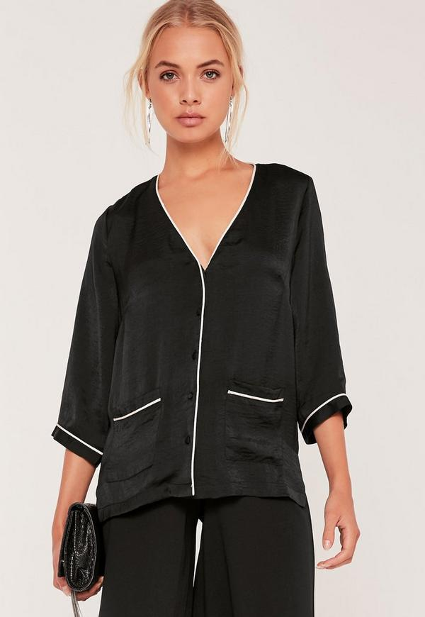 Piping Pocket Front Blouse Black