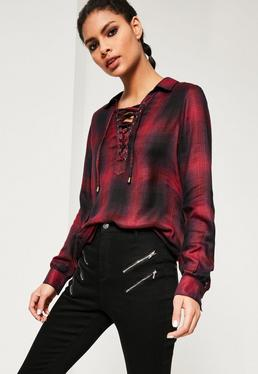 Red Lace Up Checked Shirt