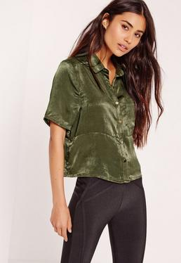 Crushed Satin Shirt Khaki