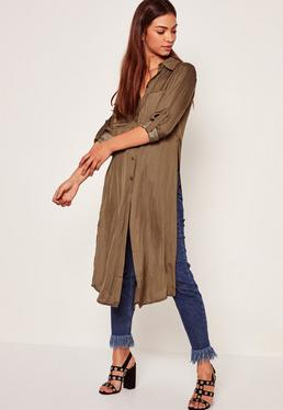 Longline Pocket Front Shirt Khaki