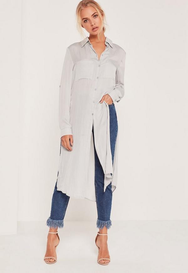 Longline Pocket Front Shirt Grey