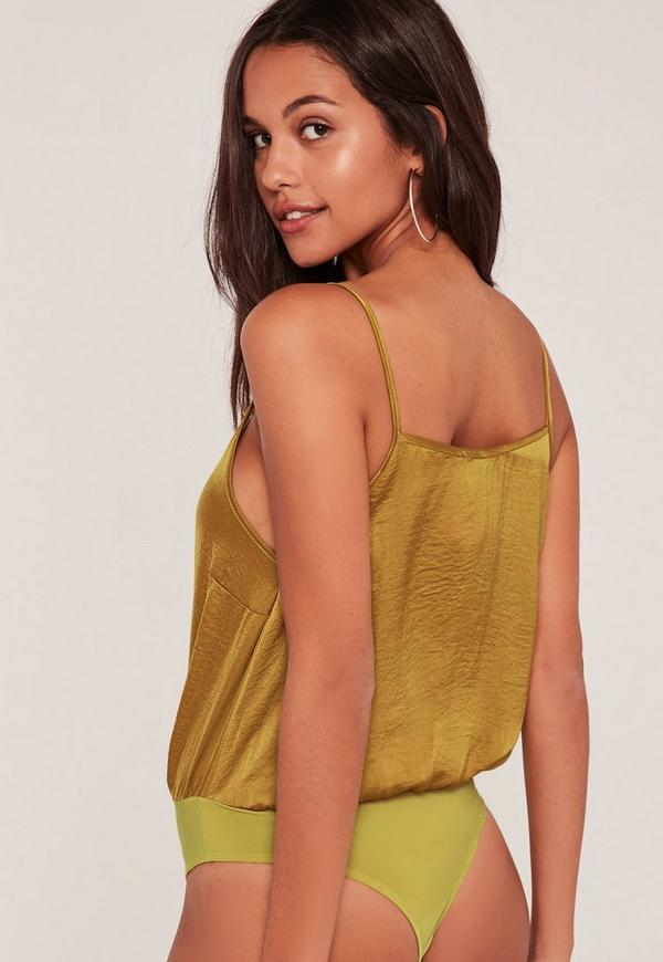 yellow satin cami yellow hammered satin cami bodysuit missguided 4537