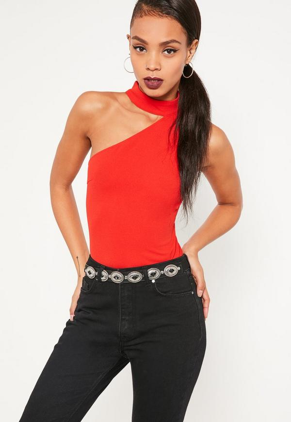 Red Choker Neck One Shoulder Bodysuit