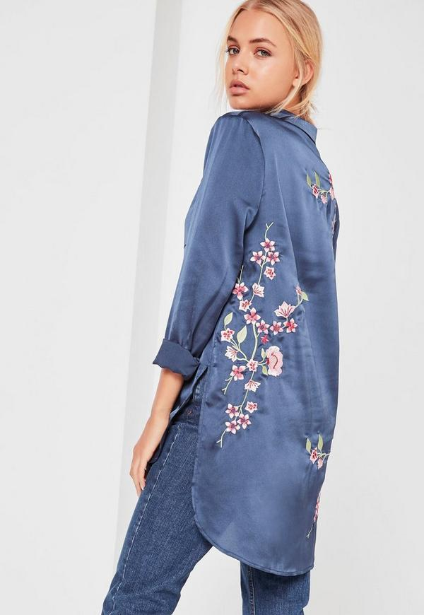 Blue Long Sleeved Embroidered Satin Shirt