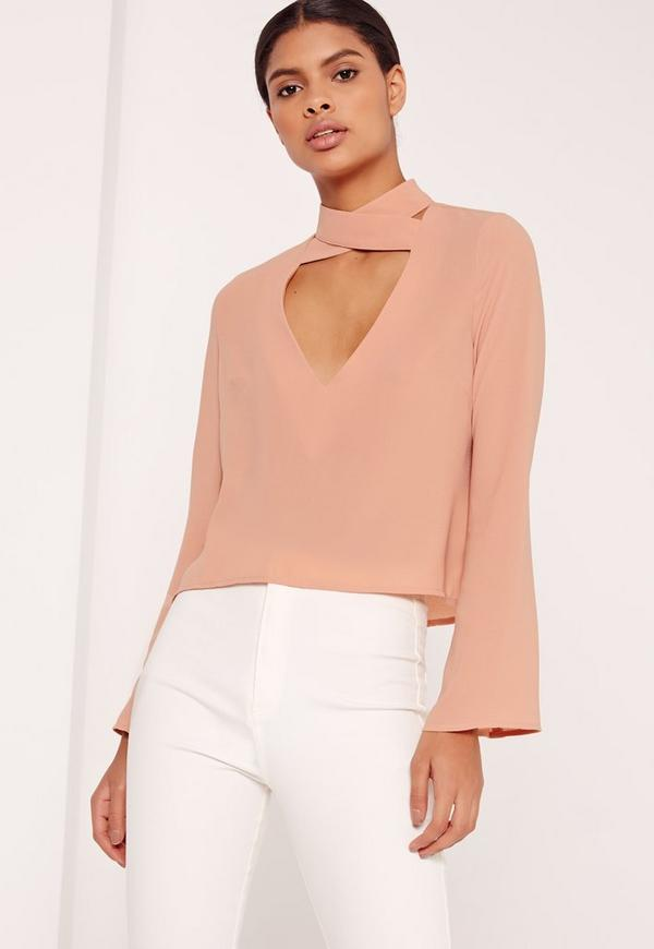 Flared Sleeve Cross V-Neck Blouse Nude