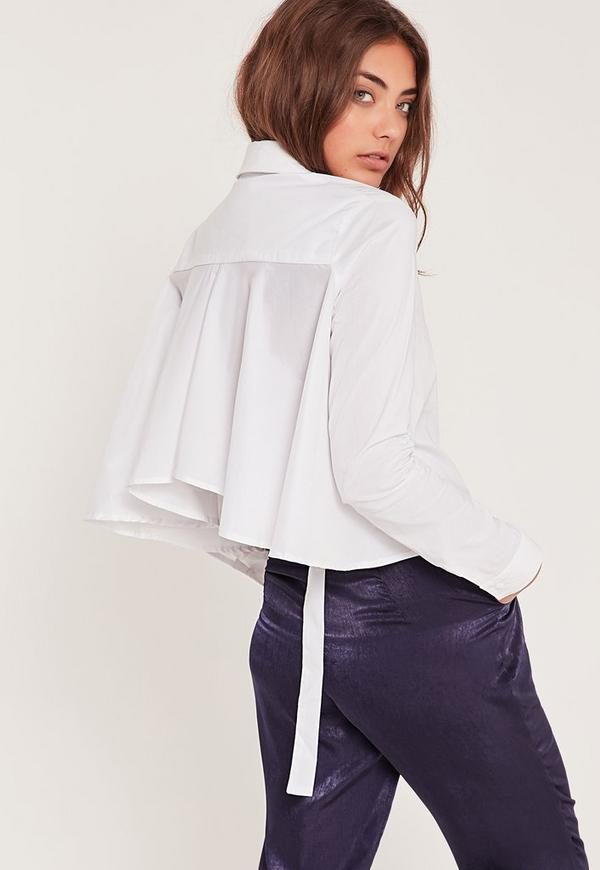 Frill Back Buckle Shirt White
