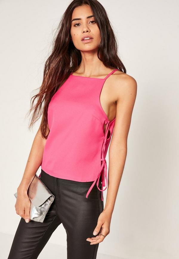 Tie Side Cami Top Pink