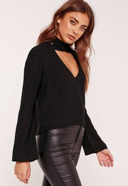 Flared Sleeve V Neck Cross Choker Neck Blouse Black
