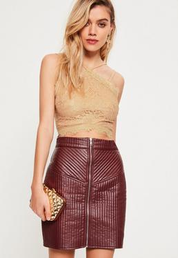 Gold Metallic Corded Lace Crop Top