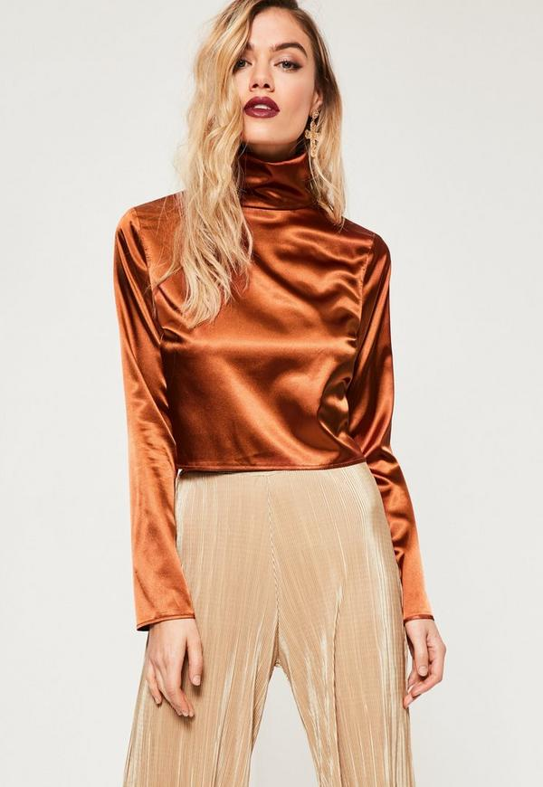 Orange Extreme Turtle Neck Long Sleeve Crop Top