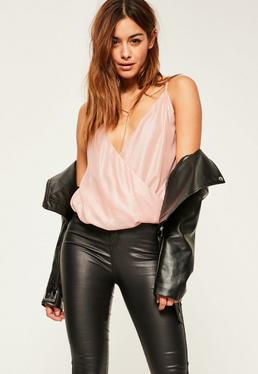 Nude chain detail metallic cami top