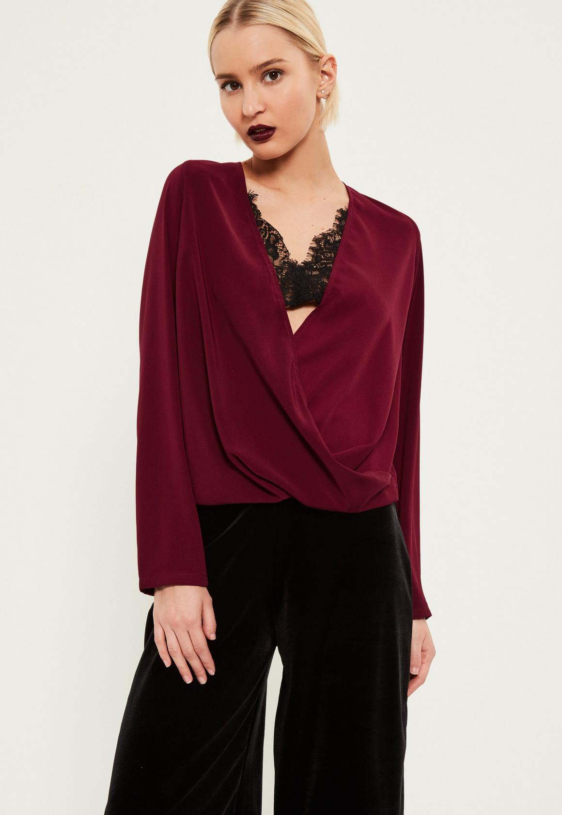 Burgundy Lace Wrap Blouse | Missguided