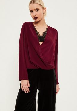 Burgundy Lace Wrap Blouse