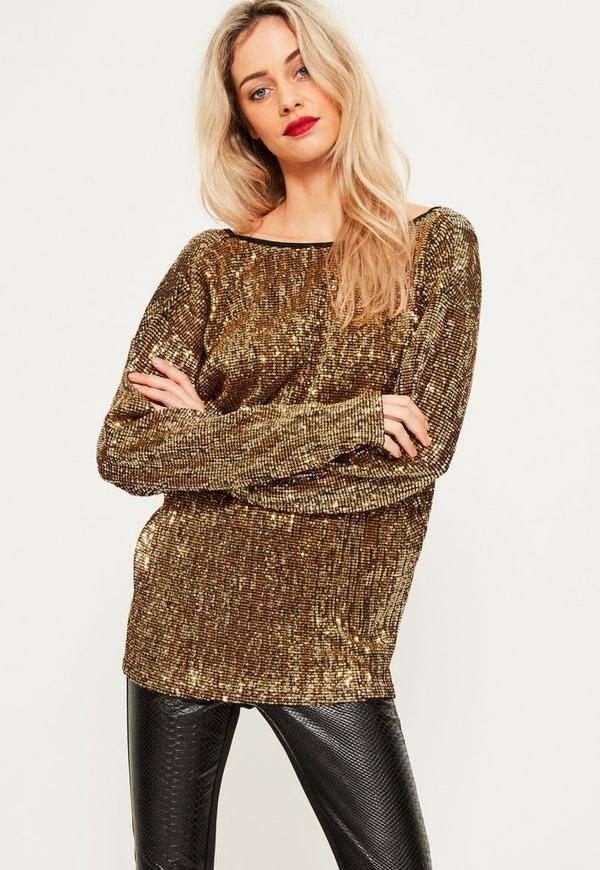 Gold Sequin V back oversized top