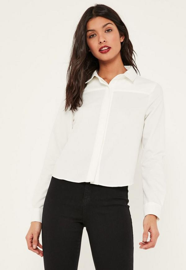 White Open Twist Back Shirt | Missguided