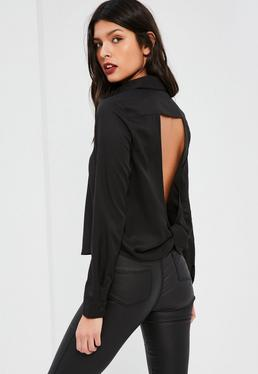 Black Open Twist Back Shirt