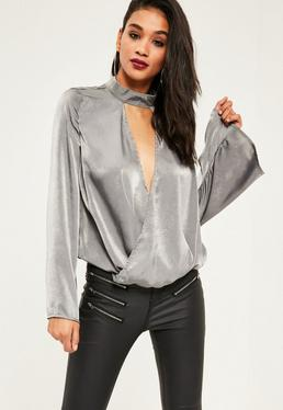 Grey Satin Choker Neck Split Front Wrap Blouse