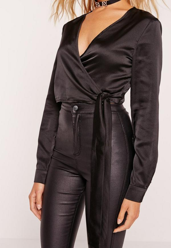 Long Sleeve Satin Wrap Front Crop Top Black Missguided