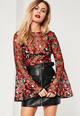 Floral Mesh Embroidered Bell Sleeve Crop Top