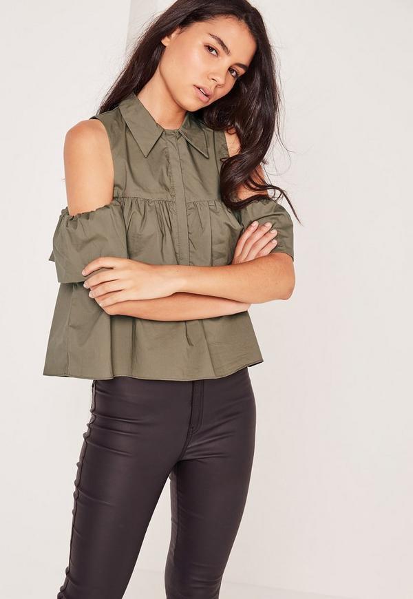 Frill Detail Bardot Shirt Khaki