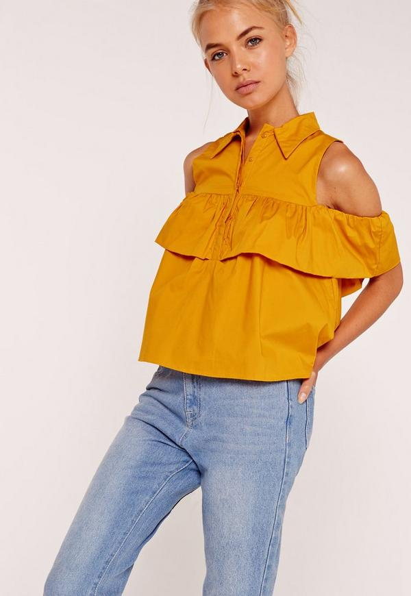Frill Detail Bardot Shirt Yellow