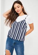 Blue Stripe Cami Overlay