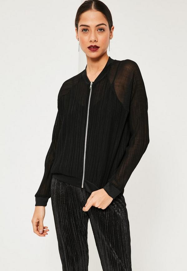 Black Sheer Pleated Bomber Jacket