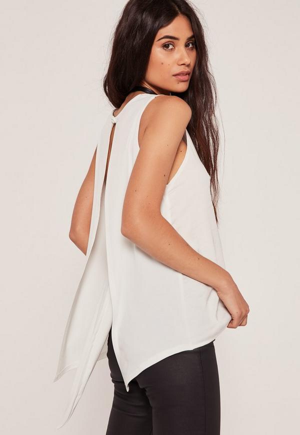 White Open Tie Back Vest